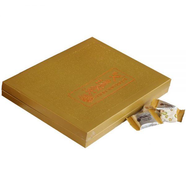 گز لقمه ای جعبه طلایی با 35% مغز پسته، 400 گرمی