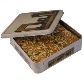 سوهان عسلی تخته ای 800 گرمی جعبه فلزی